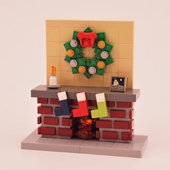Fireplace (BrickinNick) Tags: lego fireplace wreath stockings fire bricks build brickbuilding twitch christmas holidays