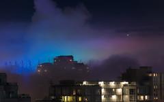 Foggy Downtown (Lee Rosenbaum) Tags: falsecreek vancouver lights architecture fog bcplace britishcolumbia clouds downtown