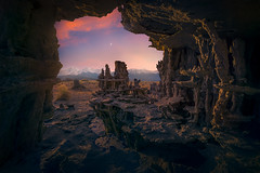 Nightfall (Exploring Light) Tags: monolake tufa cave night moon mountains orange purple california twilight desert chrismoore exploringlight photography fineart landscape prints limitededition monolakecalifornia2017