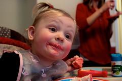 Pink Frosting! (dangaken) Tags: amelia baby toddler birthdayparty twoyearold 2yo 2ndbirthdayparty party blonde pigtails elmo christmas holiday holidayseason merrychristmas birthdaycake cake pinkfrosting pink