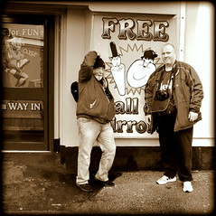Ray and Ian (* RICHARD M (Over 7 MILLION VIEWS)) Tags: ray ian ianhughes street portraits portraiture friends flickrites photographers togs meetup meetups mono fun smiles lol sepia laurelandhardy stanandollie silcocks southport signs billboards raywood g8lite sefton merseyside mates pals silcocksfunland silcocksamusements