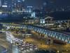 蓄勢待發 Standby (cyangLtravel) Tags: trails taxi vehicles night landscape hongkong footbridge clock tower harbor cityscape