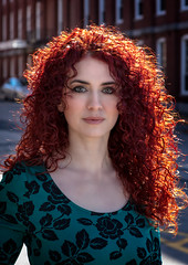 Danielle (QuarryClimber) Tags: outdoorportrait naturallight redhead greeneyes city urban pretty beauty face hair