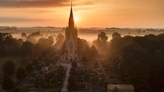 Church in Skåne, Sweden (danne17) Tags: graveyard sun sol kyrka mist morgon life e6 vellinge sverige skåne dji mavic drone håslöv sweden church