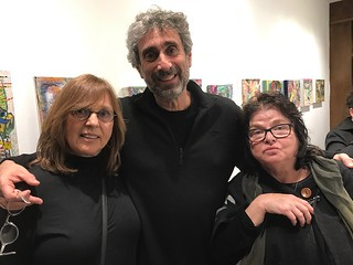 Artists Laurie Julia and Elyse Littenberg with Books&Books owner Mitch Kaplan at the B&B gallery opening in the Gables
