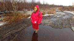 PB120172 (Axelweb) Tags: chubby bbw girl lady female rainwear raincoat pvc shiny wellies rubber boots gas mask plastenky holinky rainsuit rain suit plastic wellington gumboots galoshes gummi gasmask gloves