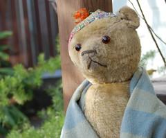 When I'm Gone (Emily1957) Tags: old oldtoy antique teddybear toys toy light naturallight nikond40 nikon kitlens germanbear mohair sawdust glass