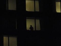 Apartment Window Shadow Midtown 2017 NYC 5330 (Brechtbug) Tags: apartment window shadow 2017 midtown manhattan nyc lonely alienation new york city tower building portrait mystery dude shadows tourist december 12212017 hotel towers evening winter night nite lurking anonymous silhouette