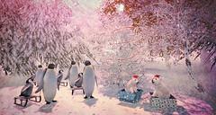 Merry Christmas and Happy New Year from Soul2Soul sl (Minnie Atlass - Sim Designer) Tags: polar bear penguin cub trees grass winter snow christmas