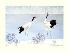 Red-crowned crane (Japanese Flower and Bird Art) Tags: bird redcrowned crane grus japonensis gruidae takeo honma modern screenprint print japan japanese art readercollection