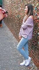 Phone Lens Kit (Viejito) Tags: bubblegumalley bubblegum sanluisobispo california slo higuerastreet marshstreet broadstreet gardenalley usa unitedstates geotagged geo:lat=35279158 geo:lon=120663811 amerika amérique américa america canon powershot s100 canons100 woman girl brunette tourist iphone smartphone disgusting wad gum brick wall alley long hair chiclet chicle trident xylitol orbit bubble mentos wrigleys bazooka juicyfruit bare shoulders facial expression sneakers jeans boots hand lens clipon hdzoom360 camrah olloclip exolens kamerar moment izzi optrix amir camkix pink phone