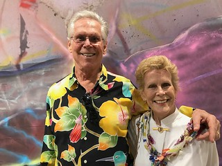 Artist/designer Dennis Jenkins with wife Sunny at Art Basel Miami Beach