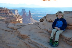 Everett At Mesa Arch (Joe Shlabotnik) Tags: nationalpark mesaarch utah 2017 justeverett arch canyonlands everett november2017 canyonlandsnationalpark afsdxvrzoomnikkor18105mmf3556ged