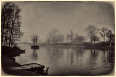 Lake in the Park (Bill Eiffert) Tags: pictorialism pictorialist toned park trees water nature mist misty lake