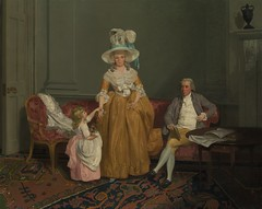 The Saithwaite Family (c. 1785) (Animus Mirabilis) Tags: british painting art franciswheatley 18thcentury portrait family father mother child woman man girl husband wife interior sofa chair table door hat plume carpet book