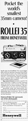 """Rollei 35 camera advertisement. by Jerry Vacl - 1968/August, """"Popular Photography"""" magazine."""