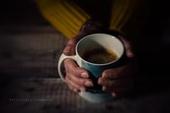 Week 1 - The Beginning (Janet_Broughton) Tags: lensbaby sweet80 coffee hands selfportrait morning dark lightroom