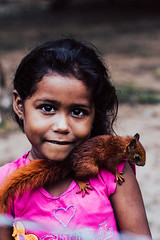 When Two Worlds Are Friends (SerCorzo) Tags: nature portrait ardilla squirrel art light pet people family pink orange heart countryside colourful outdoors rural farm hair girl child friends eos