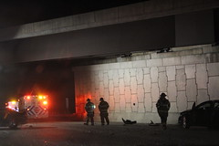 Trouble at the overpass (xJosh xHammond) Tags: fire firetruck firefighter firedepartment accident highway overpass wreck people