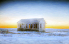 little abandoned schoolhouse on the prairie (Father Tony) Tags: abandoned sunset january cannoneos50d southdakota snow beauty alienskin adobe coalsprings sd unitedstatesofamerica