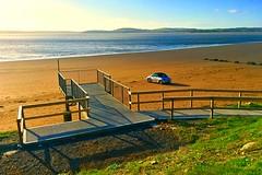 Solitude (JulieK (thanks for 6 million views)) Tags: duncannon beach wexford ireland irish iphonese sea ocean fence car sand water hff