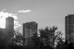 Blocs (pi3rreo) Tags: city ciel soleil sky urbain urban fujifilm fujinon france nanterre immeubles tours noiretblanc black building nuages lumière light béton