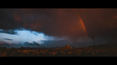 ArcoFragmento (Samuel Portilla) Tags: sunset atardecer arcoiris rainbow clouds nubes orange blue naranja azul city ciudad cinematografía cinematography cinematic cinematico teal noise noisy film rain lluvia