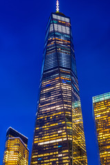 ONE (street level) Tags: worldtradecenter architecture architecturalphotography nyc freedomtower manhattan downtown skyscraper newyorkcity nightscene nikon blue colorful