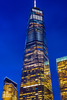 ONE (street level) Tags: worldtradecenter architecture architecturalphotography nyc freedomtower manhattan downtown skyscraper newyorkcity nightscene nikon blue colorful