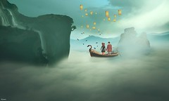 Beside you !! (Hүυη Ʀαyηε (hyunshiksantosh)) Tags: secondlife fantasy dream photoshop art different love couple warm boat together besides you me lantern concept