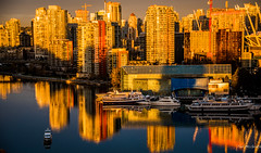 2017 - Vancouver - Sunrise (Ted's photos - For Me & You) Tags: 2017 bc bcplace cropped falsecreeksunrise nikon nikond750 nikonfx tedmcgrath tedsphotos vancouver vancouverbc vancouvercity vignetting sunrise reflection waterreflection boats highrise expo86 edgewatercasino parq falsecreek falsecreekeast eastfalsecreek cranes constructioncranes seawall vancouverseawall water cans2s canada shadow shadows