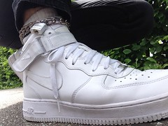 AF-1 Owned (collaredinboots1) Tags: slaveboy chained collared anklecollar nike nikeaf1 af1 sneakers skateshoes hightops