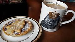 Mug of Tea and a Mince Pie. (ManOfYorkshire) Tags: roarsome mincepie tea mug lion crown drink food snack pastry sweet christmas treat seasonal