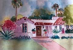 PASADENA HOUSE (BonnieBuchananKingry) Tags: watercolor paintingpasadenahousehomespanish tile roof garden