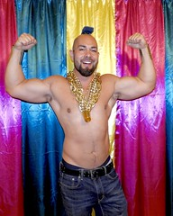 DSCN0142 (danimaniacs) Tags: mrt shirtless hunk man guy stud sexy denim jeans beard scruff costume party colorful smile curtain