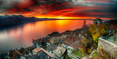 Sunset on Saint Saphorin (SLpixeLS) Tags: switzerland suisse lavaux saintsaphorin unescoworldheritage patrimoinemondialunesco léman lake lac sunset coucherdesoleil alpes vaud panoramique hdr platinumheartaward