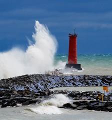 Lighthouse and Wave (imageClear) Tags: lighthouse gale waves crashingwaves sea lake lakemichigan nature dramatic color pier northpier marina december winds highwinds foam spray seaspray beauty telephoto aperture nikon d500 80400mm imageclear flickr photostream sheboygan wisconsin