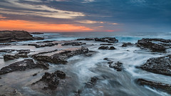 Sunrise Seascape and Rocky Headland (Merrillie) Tags: horizon norahheadlighthouse sand color nature dawn surf beauty background newsouthwales sea nsw beach ocean coastal wave outdoors norahead view landscape australia rocky vacation weather rockshelf shore earlymorning clouds scene coastline waterscape beautiful travel water sunrise daybreak scenic seascape centralcoast coast rocks sky