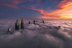 Foggy Dubai (Waheed Akhtar Photography) Tags: dubai mydubai simplydubai travel fog sunrise sunrisephotography light shadows buildings architecture dreamy dream clouds sony sonya7s sonymiddleeast sonyme uae unitedarabemirates beautiful amazing photography pictures emirates emiratestowers ngc natgeo natgeonature