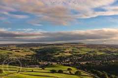 Hills and Moors Aug 28th 2017  (60) - Slaithwaite in the Colne Valley - The hills of home (Mark Schofield @ JB Schofield) Tags: sunset sunrise moors moorland agriculture meltham huddersfield yorkshire landscape canon eos 5dmk4 emley mast harden moss pennines hills fields farmland westnab heather august