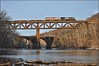 12G: Conemaugh Crossing (Images by A.J.) Tags: train railroad railway rail norfolk southern winter river bridge dam conemaugh pennsylvania ge gevo et44ac bc c408m transportation cn canadien canadian national bcol