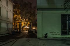 Banksy won't come to Saarbrücken! (lars_uhlig) Tags: 2017 saarbrücken deutschland germany saarland hbk nacht night winter graffiti ludwigskirche schnee snow