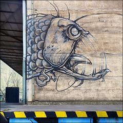 Fish (pixel_unikat) Tags: wall graffiti fish linz upperaustria linzharbour