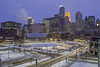Commons Park and Traffic in front of Downtown (Sam Wagner Photography) Tags: commons park downtown minneapolis lightrail car bus street traffic transit long exposure motion blur skyline city cityscape blue hour twilight winter snow fresh layer capella wells fargo thrivent financial business hennepin county government center cold december wide angle midwest twin cities