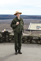 Explaining The Hawaiian Geology (wyojones) Tags: hawaii hawaiivolcanoesnationalpark kīlaueassummit kīlauea kīlaueacaldera eruption volcanicactivity jaggermuseum overlook nationalparkservice nationalparkranger geology volcano redhead woman wyojones