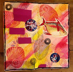 Fische IV (MKP-0508) Tags: letterjournal fisch fish poisson collage papier paper stempel stamps tampon rot red rouge rood rojo jaune gelb yellow bunt bariolé motley