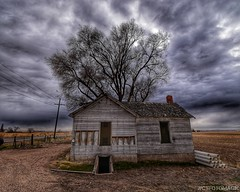 Wide Open (CTfotomagik) Tags: abandoned neglected crusty sky clouds overcast colorado nikon wide angle weld county countryside weathered tree 1020mm drama hdr details rural vacant empty agriculture fading farm house home old mood atmosphere perspective