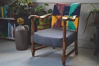 DIY upcycled woven geometric chair