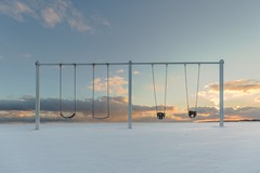 too cold to play (Marc McDermott) Tags: winter sunset swings playground beach cold clouds shore lakeontario nopeople deserted