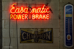 Signs of The Times ((The) Appleman) Tags: easamatic brake power neo sign signs champion packard shop garage wall cement blocks thermometer theappleman ©fotocreationsbyrogerbeltz chicago illinois sparkplugs